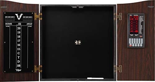 (Viper Vault Deluxe Dartboard Cabinet with Integrated Pro Score ,Mahogony Finish)