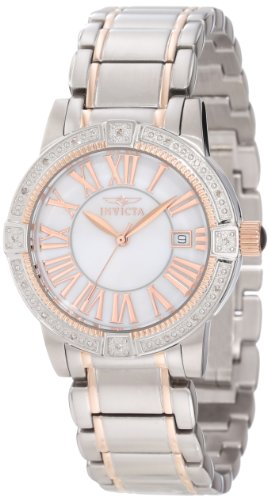 Invicta Women's 13958 Angel White Mother-Of-Pearl Dial Diamond Accented Watch