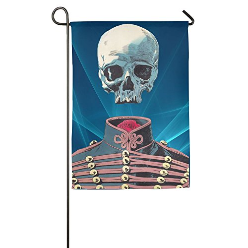 Skull And Rose Military Uniform Floral Garden Yard Flag Bann