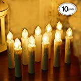 TurnRaise Window LED Taper Candles Remote Control, Flameless Battery Candles Christmas Wedding Party Birthday Decoration (10 Pack warm white)