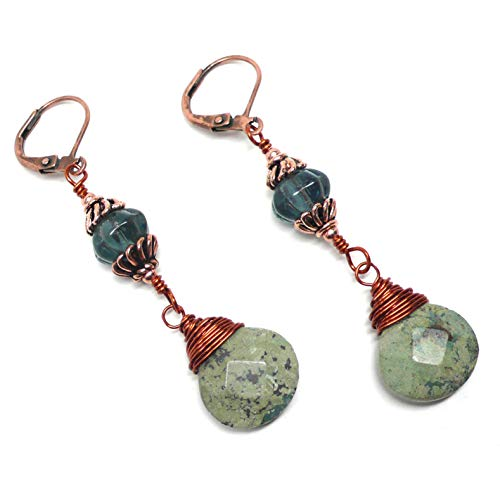 Light Aqua Jasper Briolette Wire-Wrapped Copper Lever Back Earrings Vintage Czech Glass