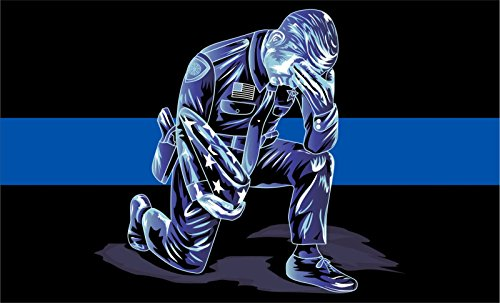 MAGNET Thin Blue Line- Kneeling Police Officer Down- Window Decal Vinyl Magnetic Sticker 3