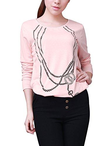 Allegra K Mujer Con Decoración De Cuentas Collar Prints cuello redondo manga larga camisetas Rosa
