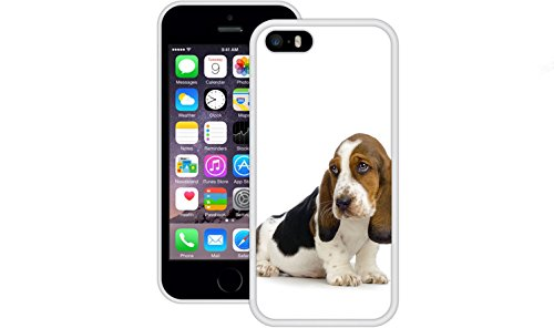 Basset Hound | Handgefertigt | iPhone 5 5s SE | Weiß TPU Hülle