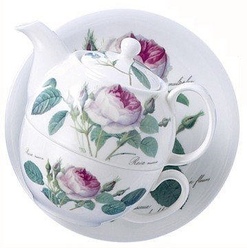 Roy Kirkham Redoute Rose Tea for One Teapot, Cup & Saucer in