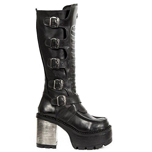 Signore Al M A Urbano Stivali Heavy Rock New Zip Pelle Gotico Fibbia s1 Femminile Nera Chiusura Punk In Tallone Ginocchio seve15 Rock Alti O5BnqI0