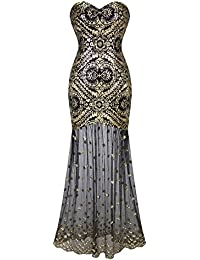 Women's Sleeveless V-Neck Sequins Lace Up Patterned Prom Dress