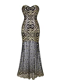 Angel-fashions Women's Sleeveless V-Neck Sequins Lace Up Patterned Prom Dress