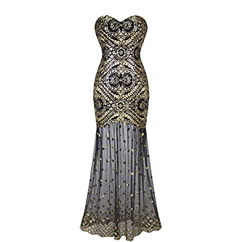 Angel Fashions Womens Sleeveless V Neck Sequins Lace Up Patterned Prom Dress Smallgolden