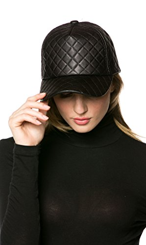 Leather Quilted Hat - Quilted Faux Leather Cap In Black