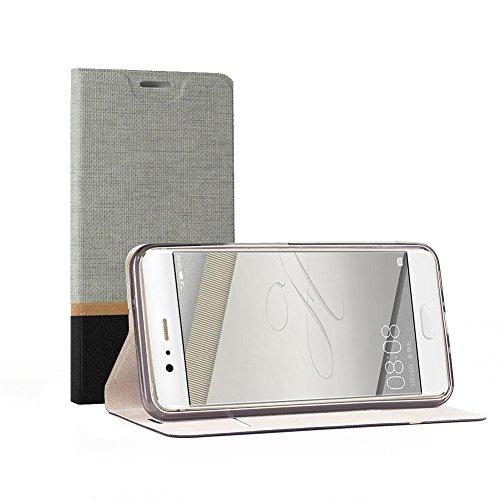 Funda Huawei P10 Plus, SunFay Cartera Carcasa Flip Folio Caja Piel PU Suave Super Delgado Estilo Libro,Soporte Plegable para Huawei P10 Plus - Negro Gris