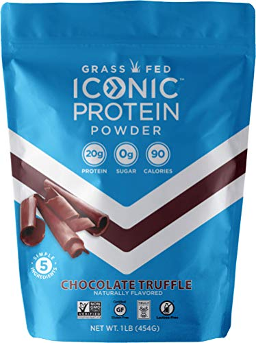 Iconic Protein Powder, Chocolate Truffle, 1 Lb (17 Serving) | Sugar Free, Low Carb Protein Shake | 20g Grass Fed Whey Protein & Casein | Lactose Free, Gluten Free, Kosher, Non-GMO | Keto Friendly (Best Casein Protein Shake)
