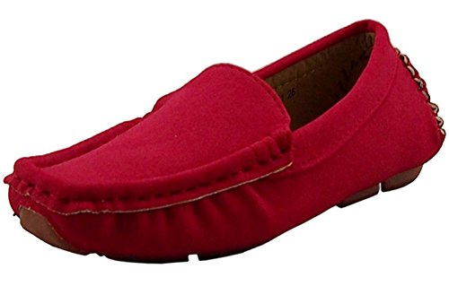 DADAWEN Girl's Boy's Suede Slip-on Loafers Oxford Shoes Red US Size 9 M Toddler