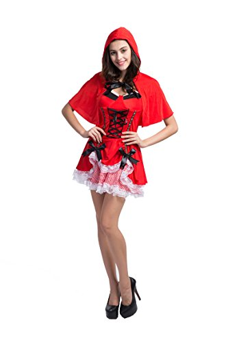 Honeystore Women's Adult Red Hood Tutu Peasant Dress with Attached Hooded Cape Style 1 (2)