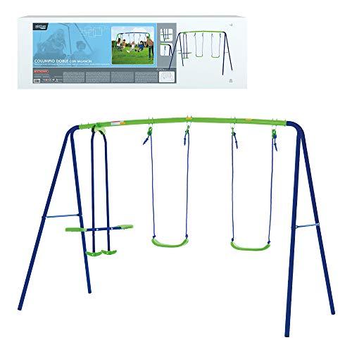 41k3hMR9rnL. SS500 Columpio doble Aktive Sports con balancín de 2 asientos y 2 columpios tradicionales, permite jugar a la vez a 4 niños mayores de 3 años Medidas columpio montado: 280 cm de ancho, 140 cm de profundo, 179 cm de alto, asientos: 35,5x18x8,5 cm, soporta 180 kg de peso máximo Cómodo y seguro, asientos ergonómicos y cuerdas resistentes de 114 cm de largo para sujetar los asientos y el balancín a la estructura del columpio