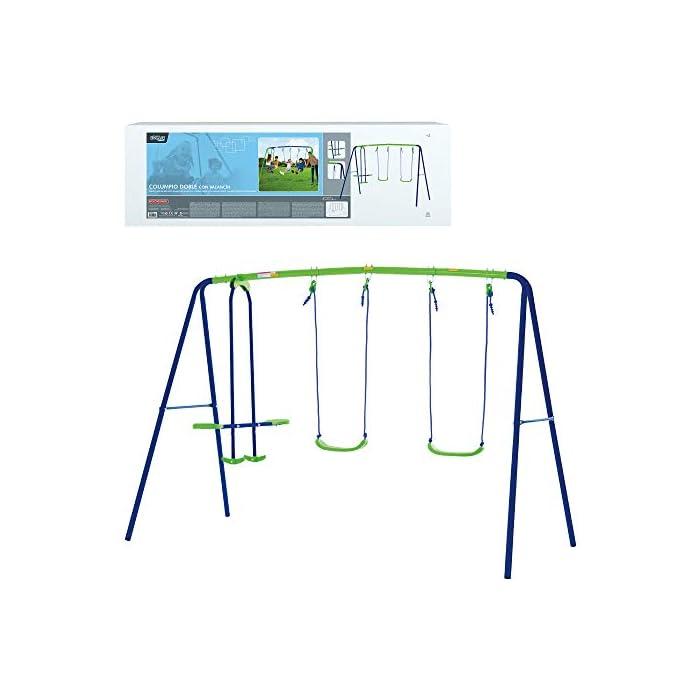 41k3hMR9rnL Columpio doble Aktive Sports con balancín de 2 asientos y 2 columpios tradicionales, permite jugar a la vez a 4 niños mayores de 3 años Medidas columpio montado: 280 cm de ancho, 140 cm de profundo, 179 cm de alto, asientos: 35,5x18x8,5 cm, soporta 180 kg de peso máximo Cómodo y seguro, asientos ergonómicos y cuerdas resistentes de 114 cm de largo para sujetar los asientos y el balancín a la estructura del columpio