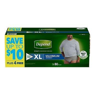 (Depend Fit-Flex Extra Large Maximum Absorbency Underwear for Men, 80)