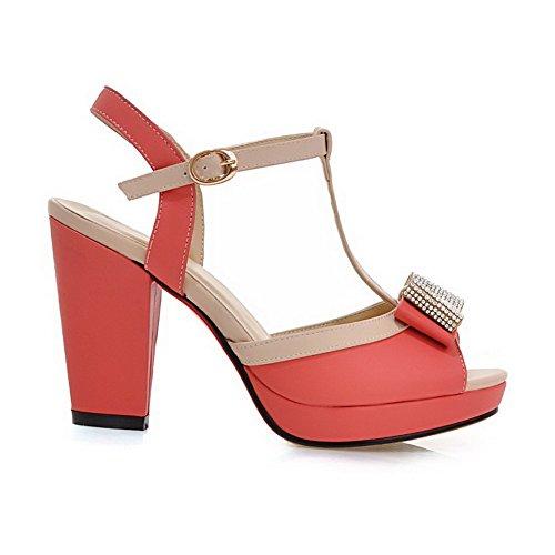 AgooLar Women's Studded PU High-Heels Peep Toe Buckle Sandals Peach DVKJfI