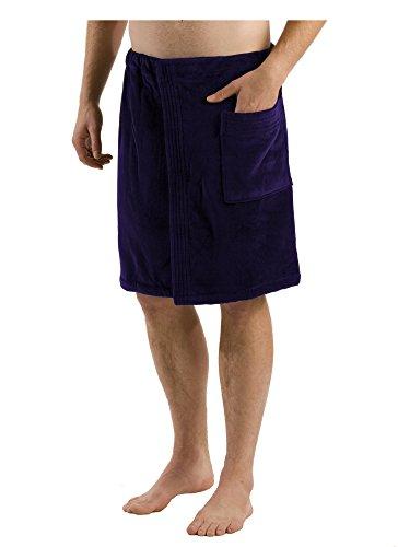 Cotton Men's Terry Bath Wrap Towel with velcro Closure - Navy Blue-One Size