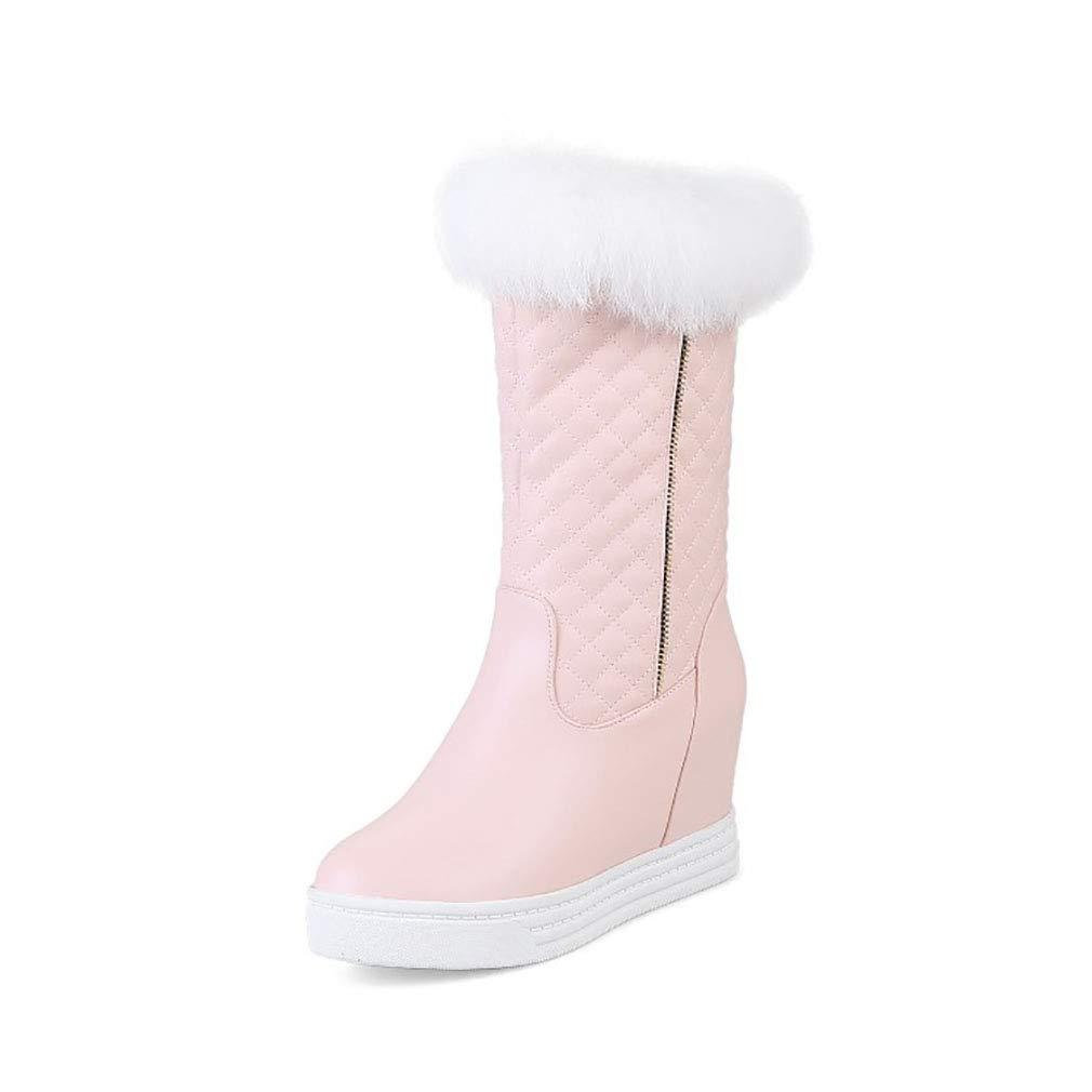 Hy Frauen Stiefel künstliche PU Winter Warm Winddicht Schnee Stiefel Stiefel Student Mittel-Kalb Stiefel Damen Winter Stiefel Erhöhen Casual Ski Schuhe (Farbe   Rosa Größe   39)