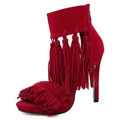LFNLYX Sandalias mujer Primavera Verano Otoño Comfort Novedad Suede Office & Carrera & fiesta vestido de noche Stiletto talón Zipper Borla Negro Rojo gris Gray