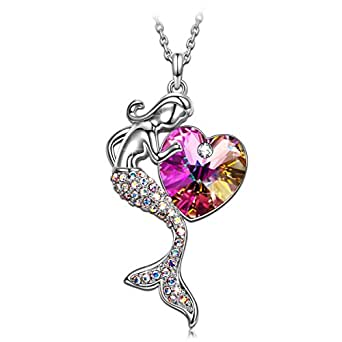 Valentine Day GIfts SIVERY 'Little Mermaid' Necklace Jewelry with Purple Swarovski Crystal, Gifts for Girls and Mom