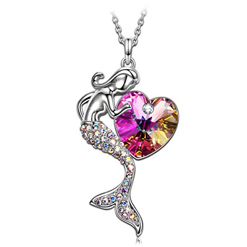 SIVERY Fairytale Little Mermaid Swarovski Crystal Women Jewelry Pendant Necklace, Gifts for Teen Girls