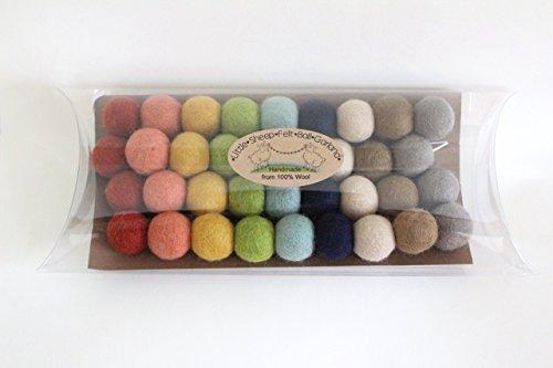 """""""Farm to Table"""" Handmade Felt Ball Garland by Sheep Farm Felt- Rustic Rainbow Pom Pom Garland. 2.5 cm balls."""