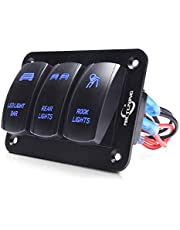 MICTUNING 3 Gang Rocker Switch Panel - 5 Pin ON-Off Toggle Switch Control Panel with LED Light, Wiring Harness Pre-Wired Easy Installation 12-24V for Boat Car Marine ATV UTV - Blue