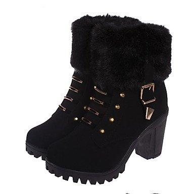 AIURBAG AIURBAG AIURBAG Damen Schuhe PU Herbst Winter Modische Stiefel Stiefeletten Stiefel Runde Zehe Stiefelies Stiefeletten Schnalle Für Kleid Schwarz Gelb 69df22