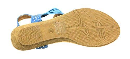 DOK-1212 Womens thong toe stripes beaded t-strap slingabck low wedge heel suede sandals Blue iWypadBMZ