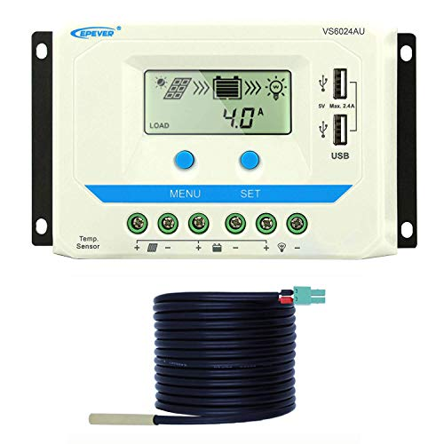 EPEVER 60A Solar Charge Controller 12V/24V Auto Max 1440W Input Solar Regulator AGM/Gel/Flooded Battery with Temperature Compensation Dual USB 5V Output and LCD Display