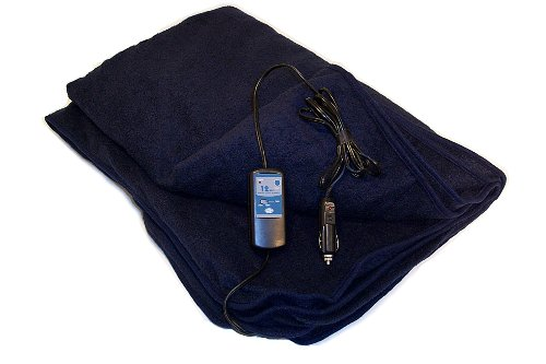 Blanket Battery Heated (Trillium Worldwide Car Cozy 2 12-Volt Heated Travel Blanket (Navy, 42