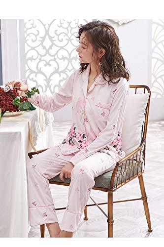 Para Primavera Larga Estampado Con Suelto Tamaño De 2 Algodón Pijama L Y Baujuxing Grande Piezas Otoño Manga Xxxl Mujer zwqXW4