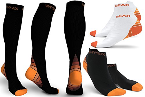3 Pack Compression Socks for Men & Women 20-30 mmhg, Best Graduated Athletic Fit for Running Nurses Shin Splints Flight Travel & Maternity Pregnancy - Boost Stamina Circulation & Recovery ORG LXL by Physix Gear Sport