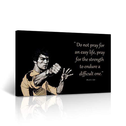 (Bruce Lee Canvas Print Prey for The Strength Quote Inspirational Motivational Wall Art Black and White Wall Art Home Decor Stretched - Ready to Hang -%100 Handmade in The USA - 8x12)