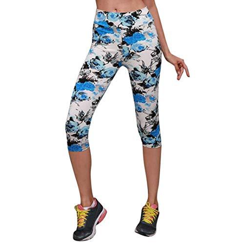 Impreso Vaqueros Pantalones Leggings de Pantalón Alta Fitness Cintura Estilo Azul de de Boho Recortado Jeans de Yoga Cintura ASHOP Pantalones Ocio Mujer Cordón qnIragvH