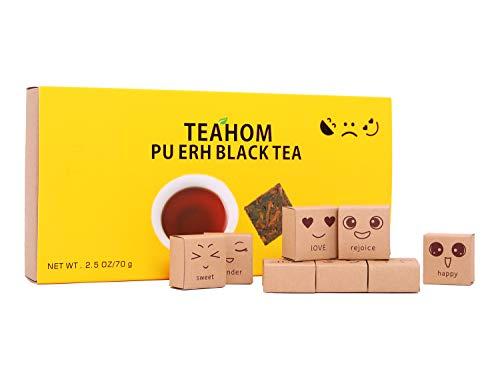 Puerh Organic Black Tea-Mood Tea Gifts Set Pu-erh Loose Leaf Tea Fermented Pure Natural 100%-Premium Quality Ripe Pu erh Tea-Detox Delicious-Aged Yunnan Puerh Tea for Tea Lovers Dad Women-2.5 Ounce