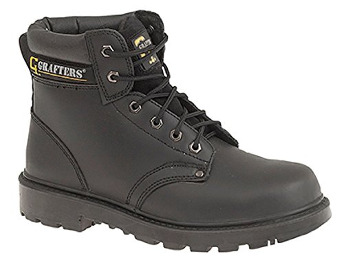 Mens Grafters Black Leather Laced Lightweight Safety Toe Cap Work Boots...