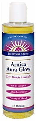 Heritage Store Aura Glow Massage Oil, Arnica, 8 Ounce