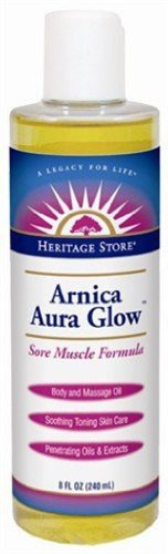 Heritage Store Aura Glow Massage Oil, Arnica, 8 Ounce Aura Glow Massage Oil