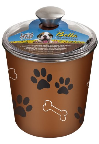 - Loving Pets Bella Dog Bowl Canister/Treat Container, Copper