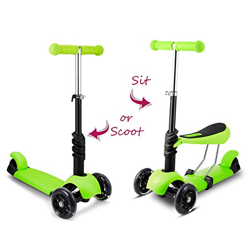 Hikole Scooter with Seat for Kids Toddlers | 3-in-1 Foldable Portable Adjustable 3 Wheels Mini Scooter with LED Light up Wheels for Children Boys Girls 2 Years Old and Up, Supports 110lbs (Best 2 Wheel Balancing Scooter)