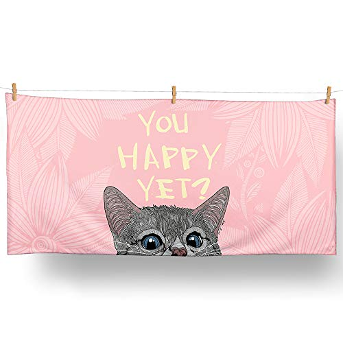 Loong Design Cute Curious Cat Beach Towel-Multi-Color 3 with A Unique Design Large (30'' x 60'') Made from Innovative Fabric(Microfiber+Cotton) for Kid &Girl (Pink)