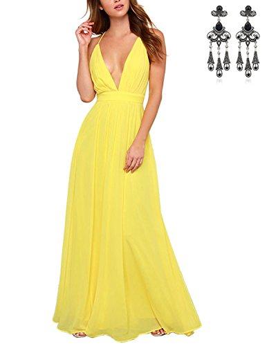 MODETREND Mujer Vestido Boho Playa Largos de Arnés Maxi Vestidos Playa Vacaciones Coctel Partido Vestido de Noche Amarillo