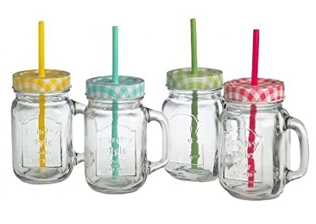 Ideal For Enjoying Your favourite Cold Beverage Iced Tea old Ale by CKB Ltd Ideal for Traditional Lemonade Set of 4 Traditional American Old Style Mason Pint Jar Drinking Glasses With Sturdy Handle Screw Cap Lid /& Straw