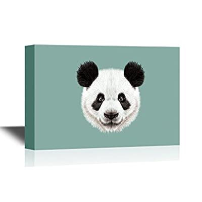 Canvas Wall Art - Panda Head Closeup - Gallery Wrap Modern Home Art   Ready to Hang - 12x18 inches