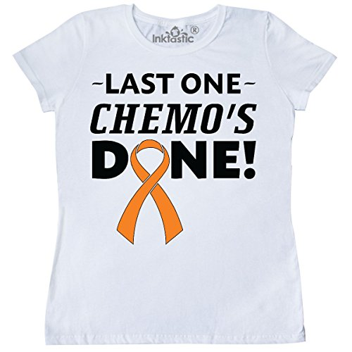 Ribbon Tee (inktastic Last One, Chemo's Done- Orange Ribbon Women's T-Shirt X-Large White)