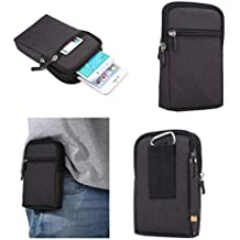 DFV mobile - Universal Multi-Functional Vertical Stripes Pouch Bag Case Zipper Closing Carabiner for => ZTE Nubia N2 (2017) > Black (17 x 10.5 cm)