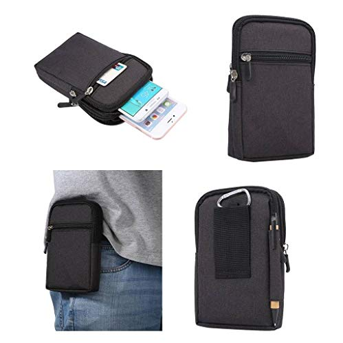 4f42bccc4d7a DFV mobile - Universal Multi-Functional Vertical Stripes Pouch Bag Case  Zipper Closing Carabiner for => ZTE Q705U > Black (17 x 10.5 cm)